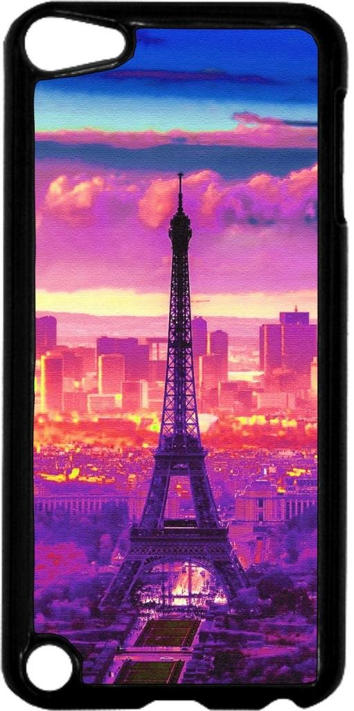 Eiffel Tower Sunset- Case for the Apple Ipod 5th Generation-Hard Black Plastic
