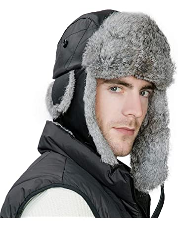 db0697ff0b8 SIGGI Unisex 100% Rabbit Fur Trapper Ushanka Russian Hat Nylon Shell  Windproof