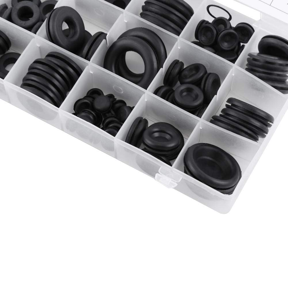 Assortimento di gommini in gomma 125 pezzi 18 formati Firewall Foro spina Set di cavi Kit guarnizione anello filo elettrico