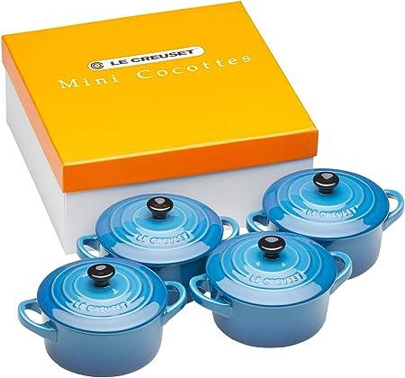 Je 200 ml 4-teilig Le Creuset Mini-Cocotte// Br/äter-Set Steinzeug Marseille Blau Rund 10 x 5 cm
