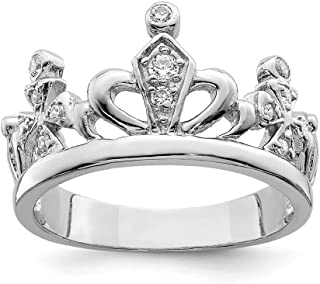 Diamond2deal In argento sterling 925 con zirconi bianchi Crown wedding Band anello 6
