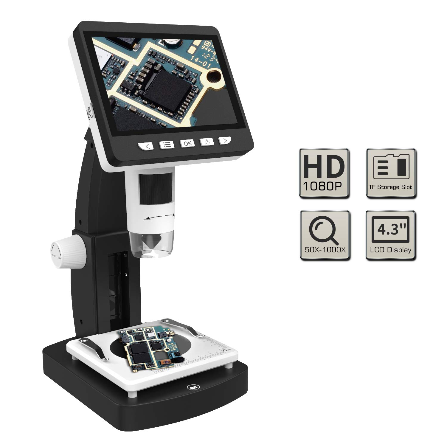 MoKo USB LCD Digital Microscope with 2M HD Image Sensor, 50x-1000x Magnification, 4.3' TFT Display, 8 LED, Camera Video Recorder, Rechargeable Battery, Support Windows & Mac PC - Black & White 4.3 TFT Display