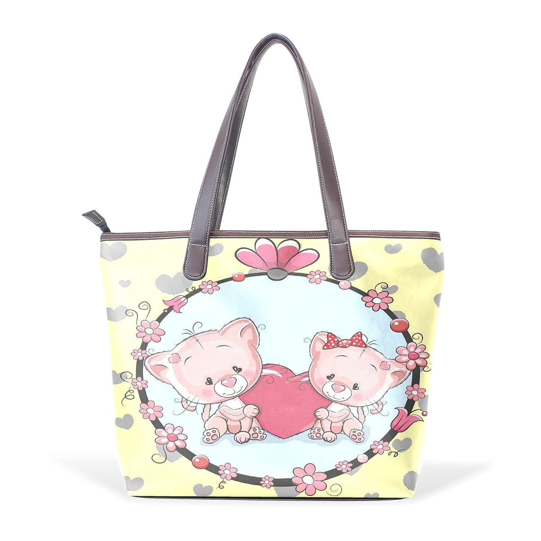 Womens Leather Tote Bag,Cartoon Animal Romantic Bear Couple,Large Handbag