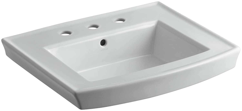 KOHLER K-2358-8-33 Archer Pedestal Bathroom Sink Basin with 8 Centers Mexican Sand