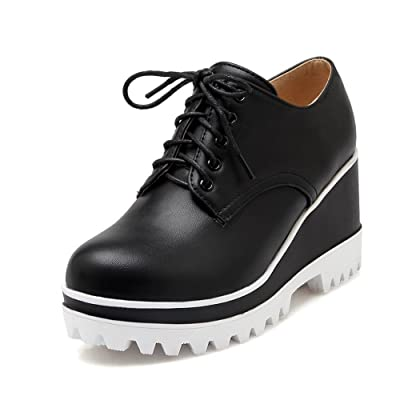 A&N Womens Lace-Up Round-Toe Outdoor Microfiber Loafers Shoes