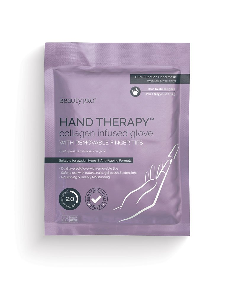 BeautyPro HAND THERAPY collagen infused gloves with removable finger tips 14055U
