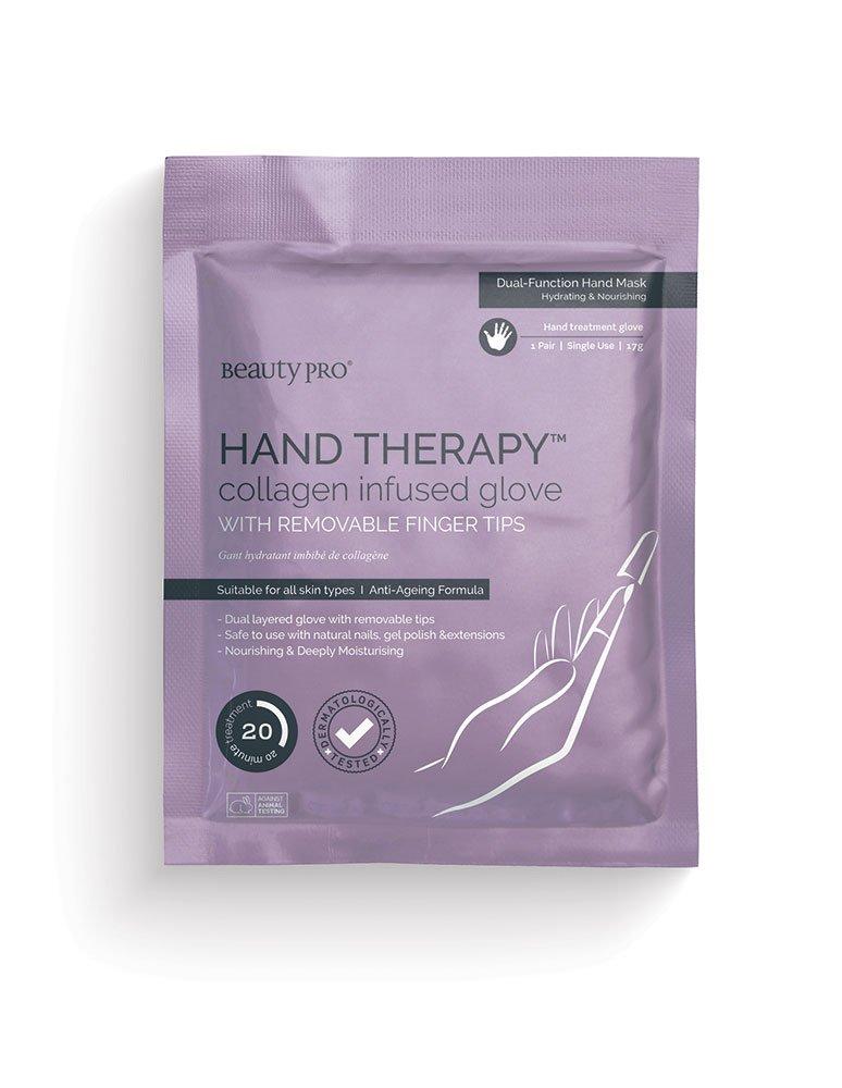 BeautyPro - Guantes Hand Therapy con impregnación de colágeno con puntas de dedo extraíbles 14055U