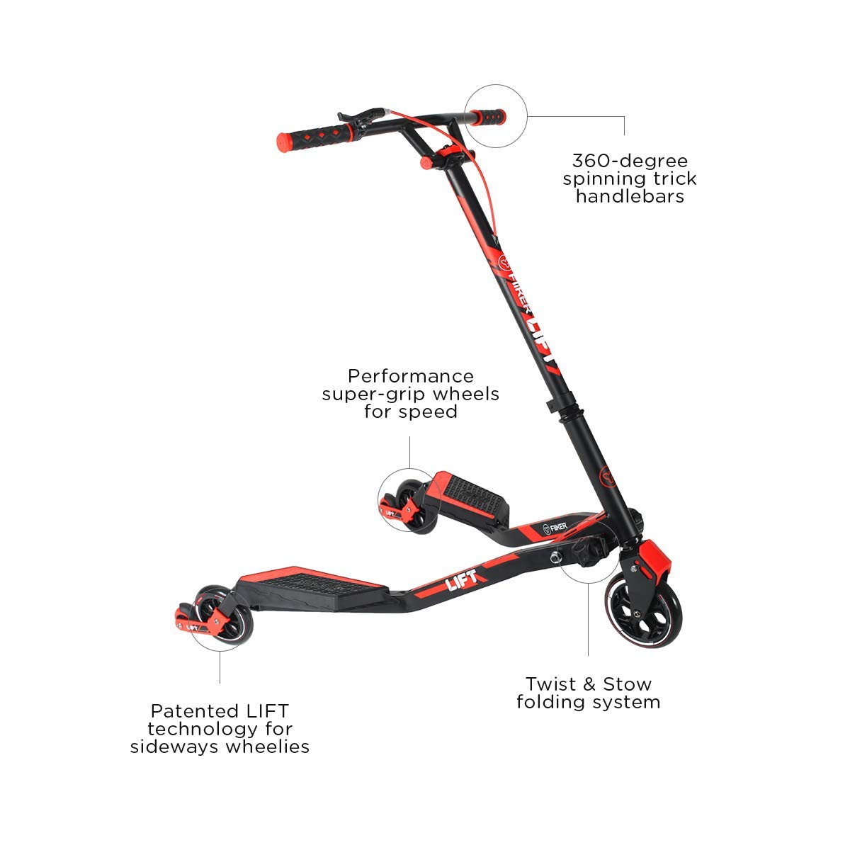 Yvolution Y Fliker Lift Kids Scooter | Swing Wiggle Scooter | Carving Scooter for Kids Ages 7 and Over
