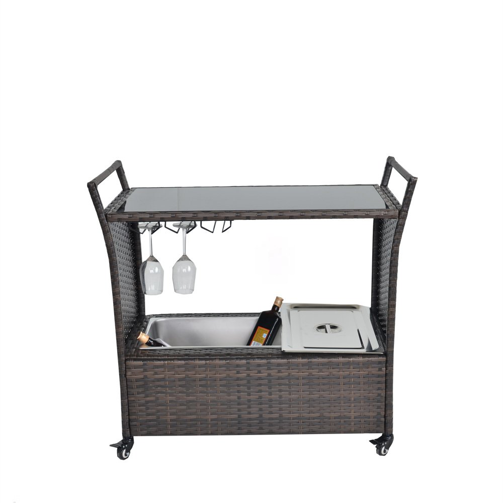 Jetime Rattan Outdoor Garden Patio Brown Wicker Chest Portable Bar Cart Service Cart on Rolling Wheels with Stainless Ice Bucket with Cover Wine Rack and Buttom Storage Bar Cart