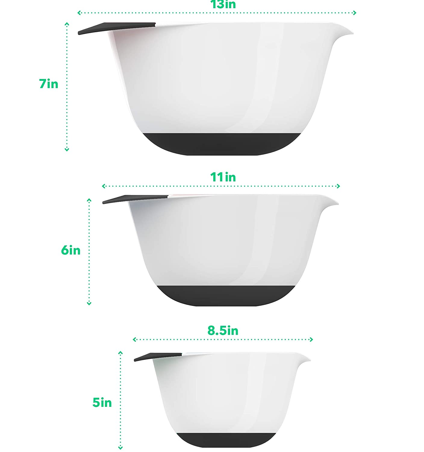 Vremi 3 Piece Plastic Mixing Bowl Set Nesting Mixing Bowls with Rubber Grip Handles Easy Pour Spout and Non Slip Bottom Three Sizes Small Large Capacity for Kitchen Baking Salad White and Black VRM020375N