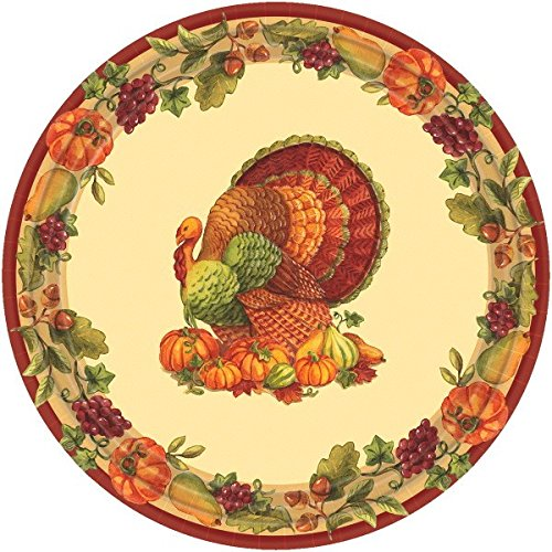 Amscan Joyful Harvest Thanksgiving Party Round Luncheon Paper Plates (Pack of 60), Multicolor, 2.25