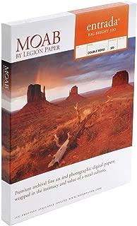 "product image for Moab Entrada Rag Fine Art, 2-Side Bright White Matte Inkjet Paper, 22.5 mil., 300gsm, 17x22"", 25 Sheets."