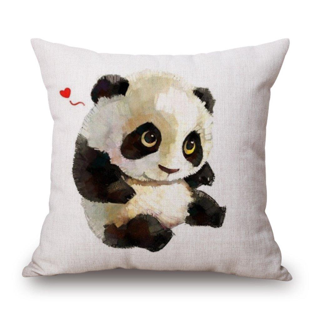 joielavie Custodia di Cuscino Lino Cotone Miscela quadrato Chiusura a cerniera federa Divano Letto Home Casa Divano 45 x 45 cm –  Panda #A