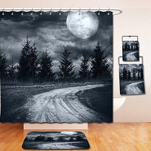 Nalahome Bath Suit: Showercurtain Bathrug Bathtowel Handtowel Horror House Decor Moonrise Magic Landscape with Empty Rural Path to Pines Dramatic Vampire Way Gray