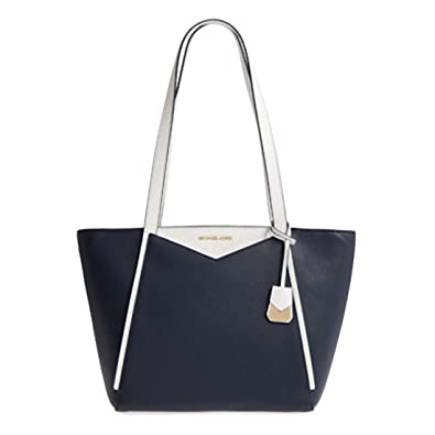 f3a9f59c9dd7 Amazon.com: MICHAEL Michael Kors Whitney Small Leather Top Zip Tote Admiral/Optic  White: Shoes