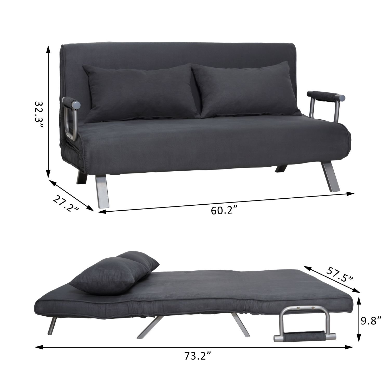 "Amazon Hom 58"" Suede Convertible Sleeper Sofa Gray"