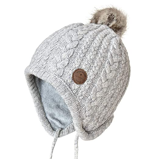 1820a078a0c6c Image Unavailable. Image not available for. Color  SOMALER Toddler Kids  Winter Ear Flap Beanie Hat Boy Girl Fur Pompom Knit Hats