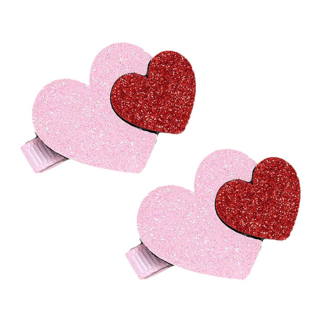 Vibola 2Pcs Toddler Baby Girls Heart Pattern Hairpin Flash powder Hair Clip Accessories (Pink)