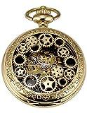 AMPM24 Mechanical Pocket Watch Skeleton Golden Alloy Case WPK220