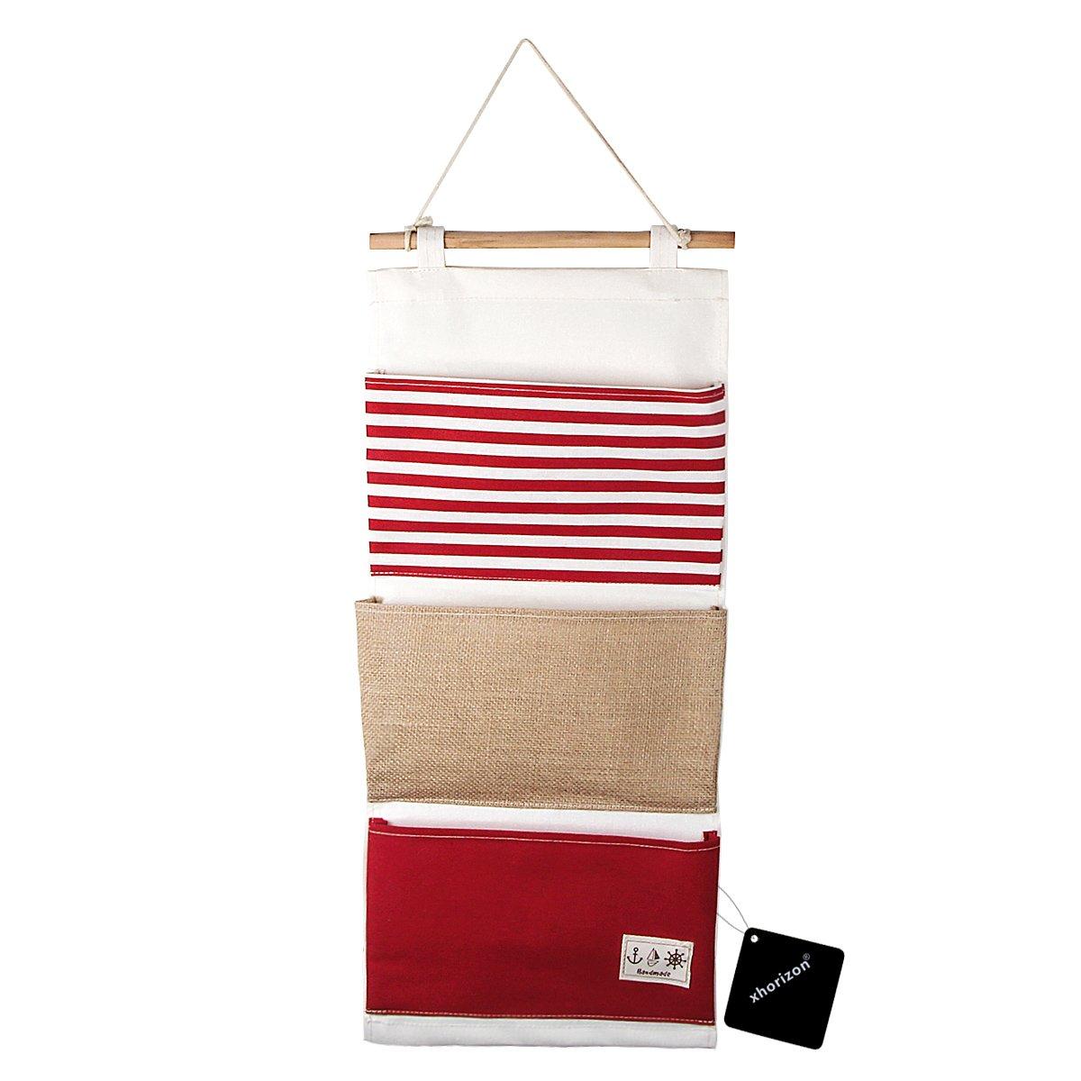 xhorizon TM FL1 Linen/Cotton Fabric 3 Pockets Wall Door Closet Hanging Storage Bag Organizer (Blue)