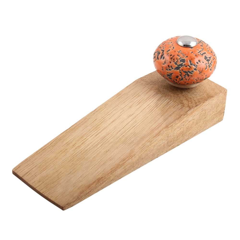 IndianShelf Set of 3 Handmade Orange And Black Etched Wooden Ceramic Door Stoppers Premium Stop Wedge Work On All Floors Non Stretching Strong Grip