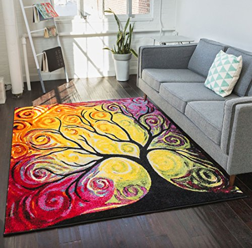 Fairytale Multi Yellow Orange Red Nature Modern Abstract Painting Brush Stroke Area Rug 5 x 7 ( 5'3 x 7'3 ) Easy Clean Stain Fade Resistant Shed Fre…