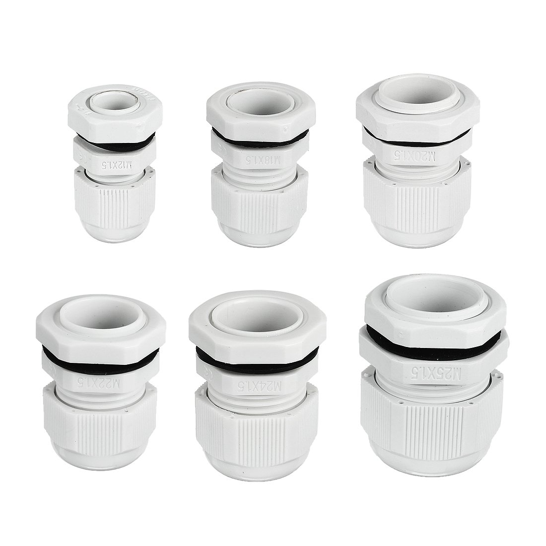 uxcell PG7 PG9 PG11 PG13.5 PG16 PG21 Waterproof Nylon Cable Gland Joint Adjustable Connector for 3mm-18mm Dia Cable Wire Pack of 30