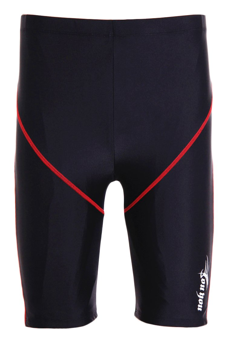 WUAMBO Swimwear Men's Swim Jammer Shorts Black US S= Asian Tag XL(Waist:29''-31'')