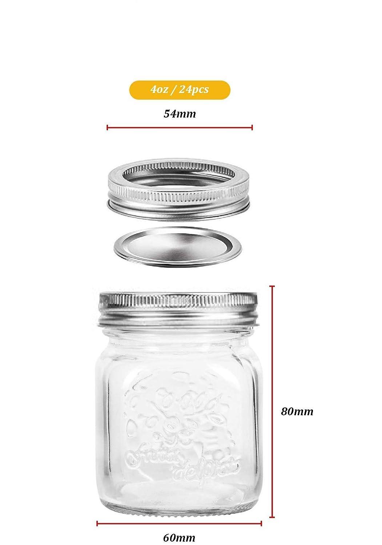 Mason Jars Shower Favors 24 Pack DIY Magnetic Spice Jars 4 oz Mini Canning Jars Glass Jars with Lids Ideal for Jam Honey Baby Foods Wedding Favors