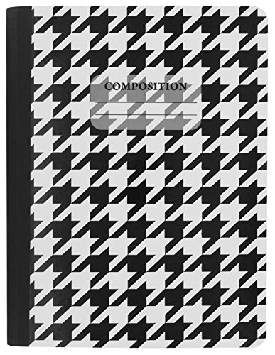 Emraw Black & White 4 Fashion Styles Cover Composition Book with 100 Sheets of Wide Ruled White Paper - Set Includes All Style Covers (4 Pack) by Emraw (Image #1)