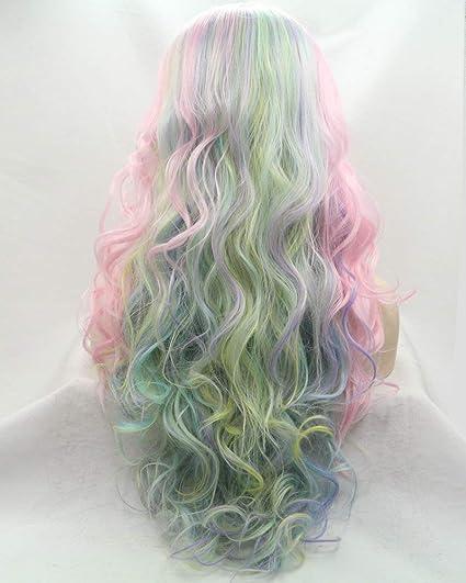 Peluca de encaje frontal, color rosa, verde, azul, amarillo y morado, sintético, con pelo ondulado largo, para cosplay, para mujer, fiesta o reina