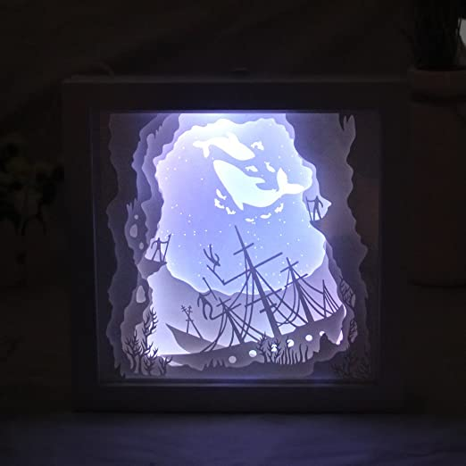 ohtop Papercut caja de luz, LED USB lámpara de luz nocturna creativas pinturas, ballena