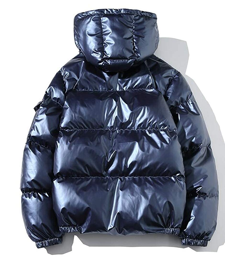 Joe Wenko Mens Coat Puffer Cotton-Padded Thick Hooded Metallic Down Jackets