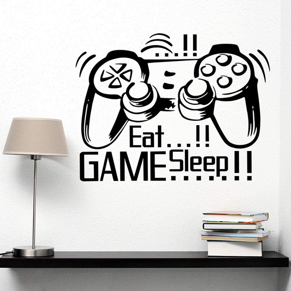 Poorminer Eat Sleep Game Wall Stickers, Video Gamer Boy Wall Sticker, Game Wall Decals for Net Bar Living Rooms Bedroom Removable Kids and Boys Playroom Decoration,DIY Vinyl Art Kids Murals