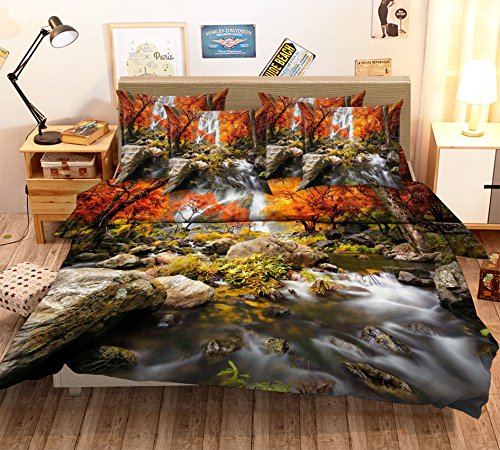 3D Waterfall Maple Creek 444 Bedding Pillowcases Quilt Duvet Cover Set Single Queen King | 3D Photo Bedding, AJ Wallpaper US Summer (Full)