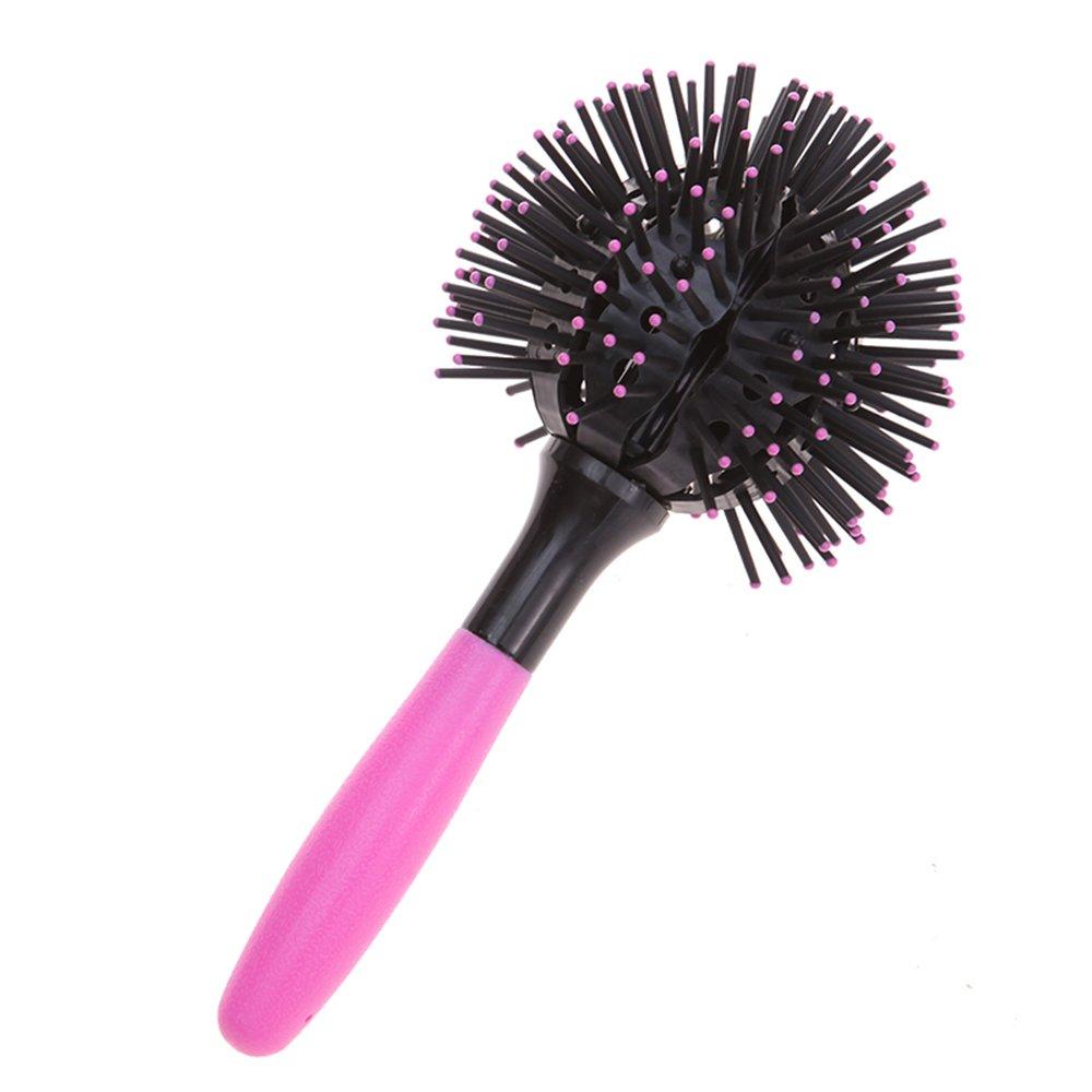 Carejoy 3d Bomba Curl cepillo salón de estilo redondo para el pelo rizador de pelo peine herramienta Rosa: Amazon.es: Belleza