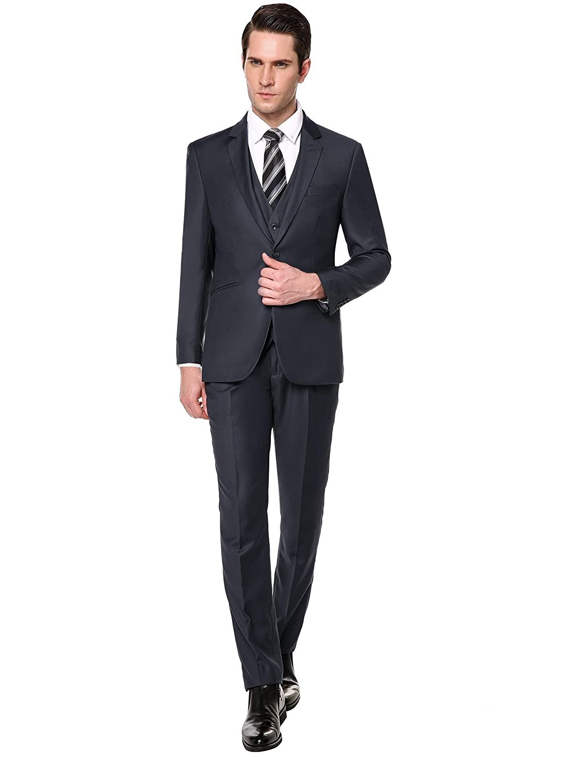 fddf8672df96 Elever Dress Suits for Men Men's Suit Separates Royal Blue Suit Dark Gray Brown  Suits at Amazon Men's Clothing store: