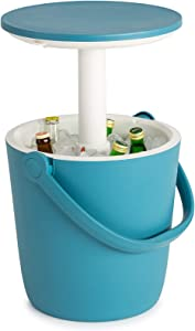 KETER Go Bar 4.2 Gallon Beer and Wine Cooler with Handle and Pop Up Outdoor Table Perfect for Your Patio, Picnic, and Beach Accessories, Teal