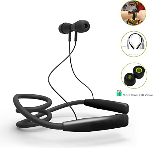 Wireless Bluetooth Headphones – LAINNO Sports Neckband Earbuds Headset, 360 Degree Adjustable Memory Neckband Slim Design for All Neck Size, Microphone, Bonus Memory Foam Earbuds, 2020 Version