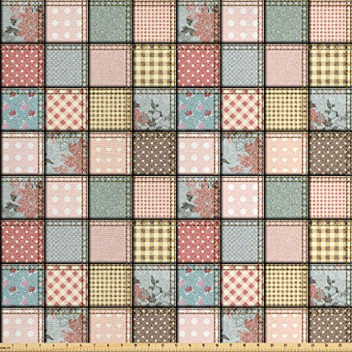 Ambesonne Shabby Flora Fabric by The Yard, Vintage Style Patchwork Design Colorful and Details Vibes, Decorative Fabric for Upholstery and Home Accents, 1 Yard, Seafoam Blush (Colorful Fabric Upholstery)
