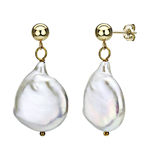 14k Yellow Gold 15-15.5mm White Semi-coin Baroque Freshwater Cultured Pearl Stud Earrings