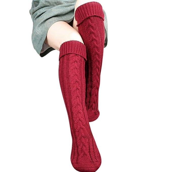 1950s Socks- Women's Bobby Socks Mosunx Women Overknee Thigh High Warmer Socks Knit Woolen Yarn Stocking $11.79 AT vintagedancer.com