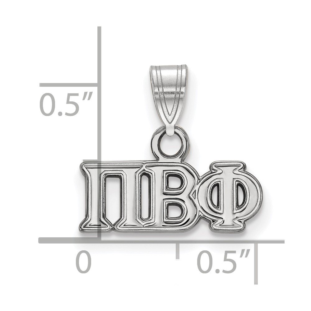 15mm x 13mm Solid 925 Sterling Silver Pi Beta Phi Small Pendant