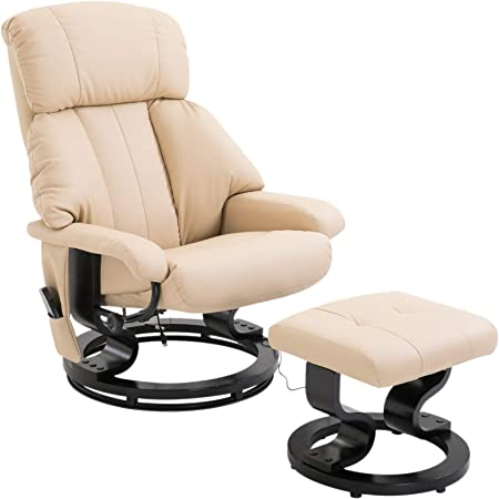 Homcom Fauteuil de Massage Relaxation Chauffage Electrique Repose Pied crème