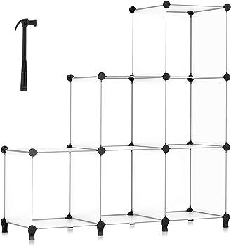 Homidec 6-Cube Bookcase Storage Bookshelf with Metal Hammer