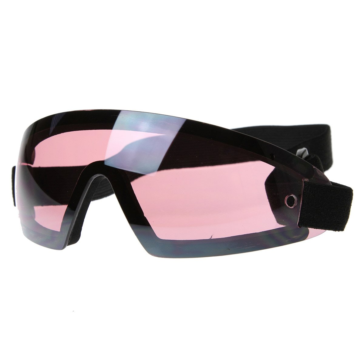 Frameless Protective Eyewear UV400 | Sports Shield Goggles with Adjustable Strap (Black Pink)