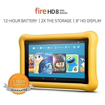 """Review Fire HD 8 Kids Edition Tablet, 8"""" HD Display, 32 GB, Yellow Kid-Proof Case"""