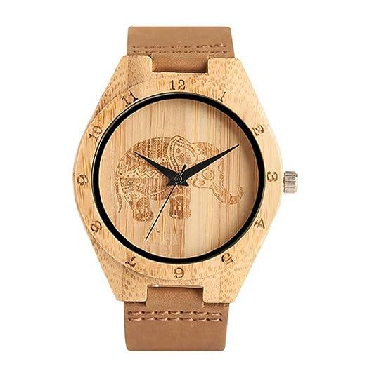 MW relojes madera reloj elefante de piel Para Mujer Piel: Amazon.es: Relojes