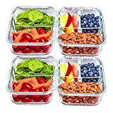 2 & 3 Compartment Glass Meal Prep Containers [4 Pack, 30 oz] - Food Storage Containers with Lids, BPA Free Food Prep Containers, Bento Box, Lunch Box, Portion Control, Airtight