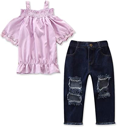 Denim Jeans Shorts Outfits Casual Set Toddler Baby Girls Lace Off Shoulder Tops